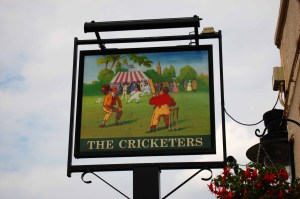 The Cricketers pub sign