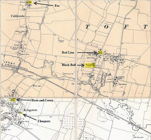 Map of the closed pubs of Caldecote, Kingston and Toft